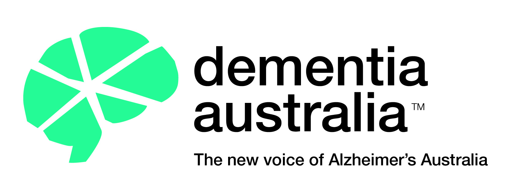 Green brain symbol with the words Dementia Australia