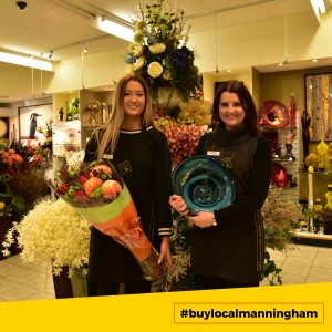 Two female staff members standing in front of flower pots at Donvale Flower Gallery #buylocalmanningham