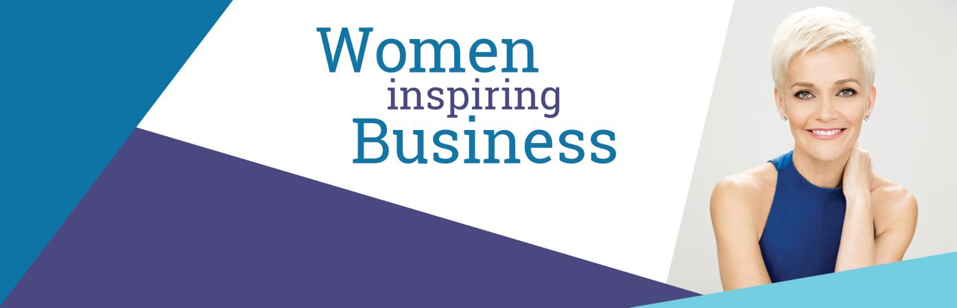 The words Women inspiring Business in blue with an image of Jessica Rowe, guest speaker